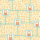 Seamless Pattern with Computer Gadget Network Stock Image