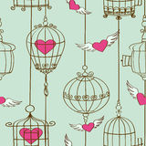 Seamless pattern of concept hearts and cages Royalty Free Stock Images