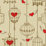 Seamless pattern of concept hearts and cages Stock Image