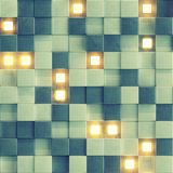 Seamless pattern of concrete wall with glowing cubes 3D rendering. Seamless pattern of concrete wall with glowing cubes. Abstract tileable background. 3D royalty free illustration
