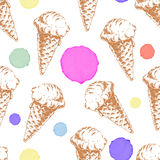 Seamless pattern with cone waffle ice cream and colorful watercolor drops. Stock Photos