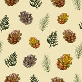 Seamless pattern of cones and coniferous twigs on a yellow background vector illustration