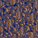 Seamless pattern of cones and fir branches Royalty Free Stock Images