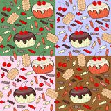 Seamless pattern of confection. Cakes, candy, cookies Royalty Free Stock Image