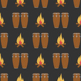 Seamless pattern with conga and bonfire. Vector sign for web graphics Stock Photography