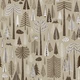 Seamless pattern of coniferous forest royalty free illustration