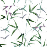 Seamless pattern consisting of branches with green leaves Royalty Free Stock Photo