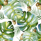 Seamless pattern consisting of branches with green leaves Royalty Free Stock Image