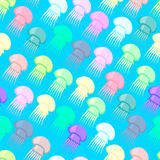 Seamless pattern consisting of colored jellyfish.  Royalty Free Stock Photography