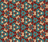 Seamless pattern consisting of geometric elements arranged on teal background. Useful as design element for texture, pattern and artistic compositions Stock Photo