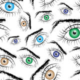 Seamless pattern consisting of painted eyes.Vector. Art Stock Photos