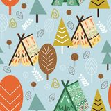 Seamless pattern forest in Scandinavian style - vector illustration, eps stock illustration