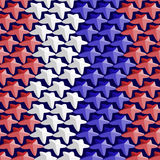 Seamless pattern consisting of white,red and blue stars in the t Royalty Free Stock Photo