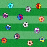 Football uniting all countries and peoples. Seamless pattern. consists of balls for football. different size and bright colors vector illustration