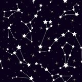 Seamless pattern with constellations. Space background with stars Royalty Free Stock Image