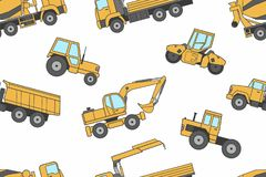 Seamless pattern Construction machines Stock Image