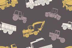 Seamless pattern Construction machines Royalty Free Stock Photos