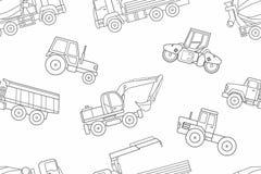 Seamless pattern Construction machines, thin line style Stock Photo