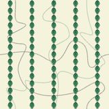 Seamless pattern with continuous curved chains and lacy leaf stripes. Vector illustration in green, cream and grey stock illustration