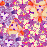 Seamless pattern with continuous dendrobium Orchidea purple, ora Stock Image