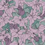 Seamless pattern with continuous flowers. Seamless pattern with continuous purple flowers on a green background Royalty Free Illustration