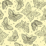 Seamless pattern with contour butterflies Royalty Free Stock Image