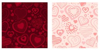 Seamless pattern with contour hearts Royalty Free Stock Photography