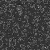 Seamless illustration  with contour images cartoon cats , white contour on dark background Royalty Free Stock Photo