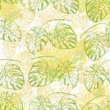 Seamless pattern, contour leaves Royalty Free Stock Image