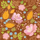 Seamless pattern, contour, pink flowers, yellow leaves, blue berries, brown background. Stock Photo