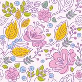 Seamless pattern, contour, pink flowers, yellow leaves, pink background. Stock Photography