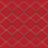 Seamless pattern with contour stitches of rhombuses on red background. The texture of the fabric and plaid. Vector background. For wallpapers, backdrop and your vector illustration
