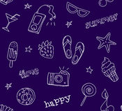 Seamless pattern with contour summer icons. Old school style. Ornament for textile. Vector background Stock Photography