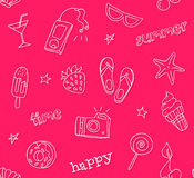 Seamless pattern with contour tattoo icons. Hipster style. Ornament for textile and wrapping. Vector summer background Royalty Free Stock Photos