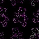 Seamless pattern of contour Teddy bear on black background. Seamless pattern of contour Teddy bear on black stock illustration