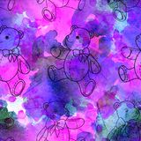 Seamless pattern of contour Teddy bear on pink watercolor background. Seamless pattern of contour Teddy bear on pink background stock photography