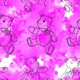 Seamless pattern of contour Teddy bear on pink watercolor background. Seamless pattern of contour Teddy bear on pink background royalty free stock image