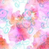 Seamless pattern of contour Teddy bear on pink watercolor background. Seamless pattern of contour Teddy bear on pink background royalty free stock photo