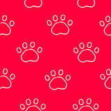 Seamless pattern with contour trail paws. Ornament for bandanas. Vector background Royalty Free Stock Photography