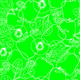 Seamless pattern with contour vegetables. Seamless green pattern with contour vegetables. Kiwi. Spinach. Capsicum. Winter melon. Sultana fruits. Chia seeds Royalty Free Stock Photo