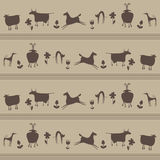Seamless pattern of contours animals and flowers Royalty Free Stock Photos