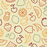 Seamless pattern with contours of fruit Stock Images