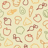 Seamless pattern with contours of vegetables Royalty Free Stock Photo