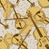 Seamless pattern of contrabass and violin Royalty Free Stock Photography