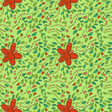 Seamless pattern with convoluted floral ornament. Stock Photography