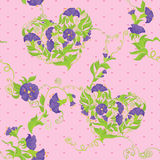 Seamless pattern - Convolvulus Flowers hearts Royalty Free Stock Photos