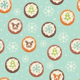 Seamless pattern with cookies Royalty Free Stock Photo