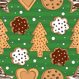 Seamless pattern with cookies Royalty Free Stock Photos