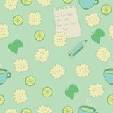 Seamless pattern with cookies, lime, mint and tea. Stock Image