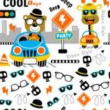 Seamless pattern,cool boy funny animal cartoon,vector illustration. Seamless pattern funny animal cartoon,vector illustration for t shirt and wallpaper or book vector illustration